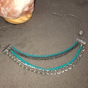 NWOT Blue Silver and Black Multi-Chain Necklace